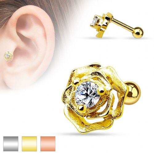 Gem Set Flower Cartilage Bar